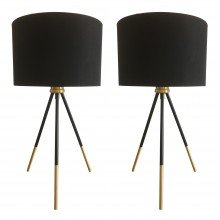 Pair of Trim - 51cm Black and Satin Brass Tripod Table Lamps