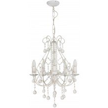 Crystal Chandelier in White with Silver Brush Strokes