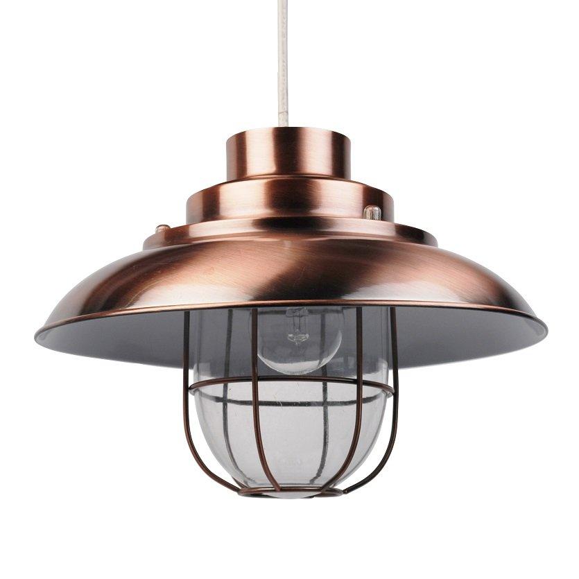 Vintage Copper Finish Metal Fishermans Cage Ceiling Pendant Light Lamp Shades
