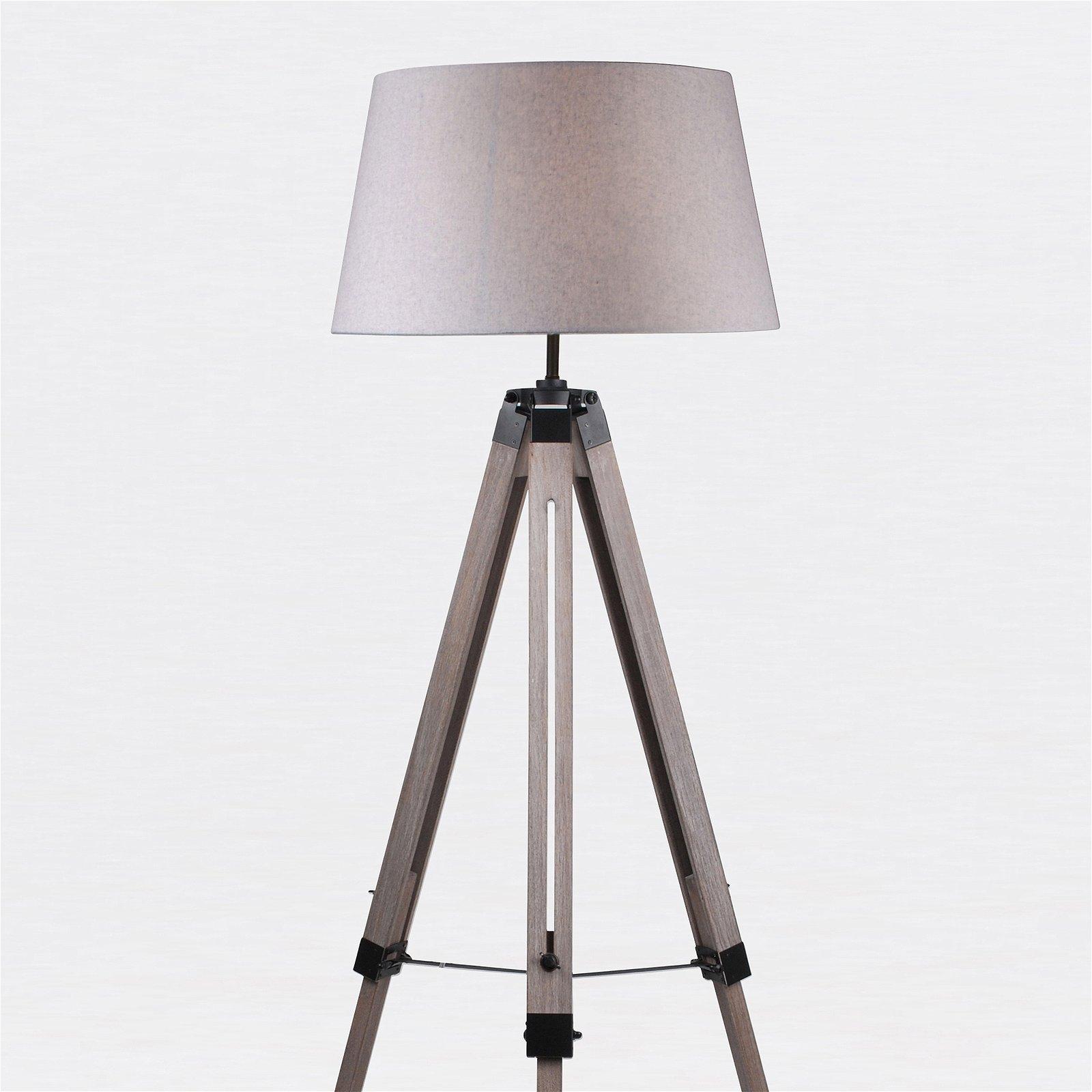 thumbnail 12 - Grey Wash Tripod Wood Table or Floor Lamp Black Painted Metal and Grey Shade
