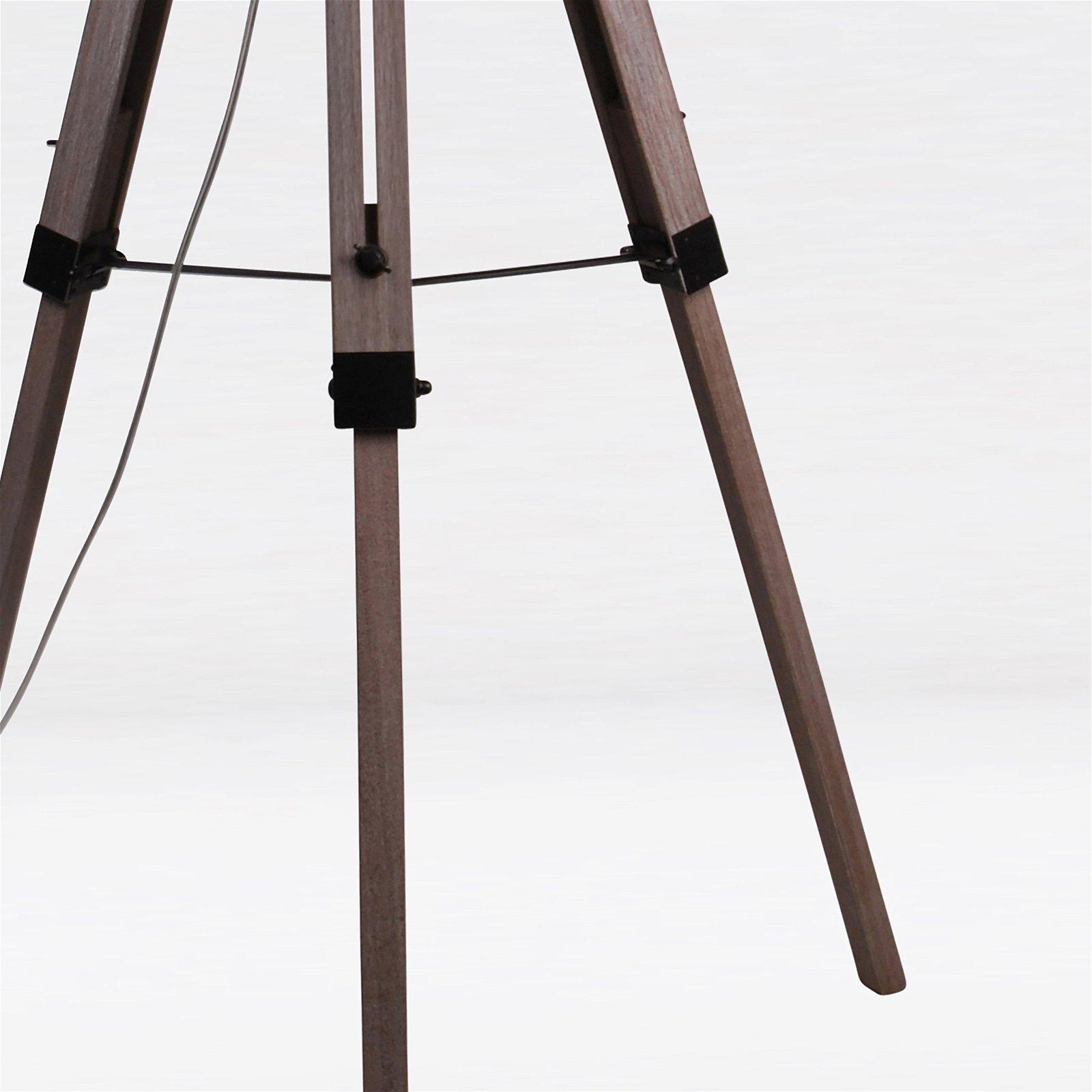 thumbnail 16 - Grey Wash Tripod Wood Table or Floor Lamp Black Painted Metal and Grey Shade