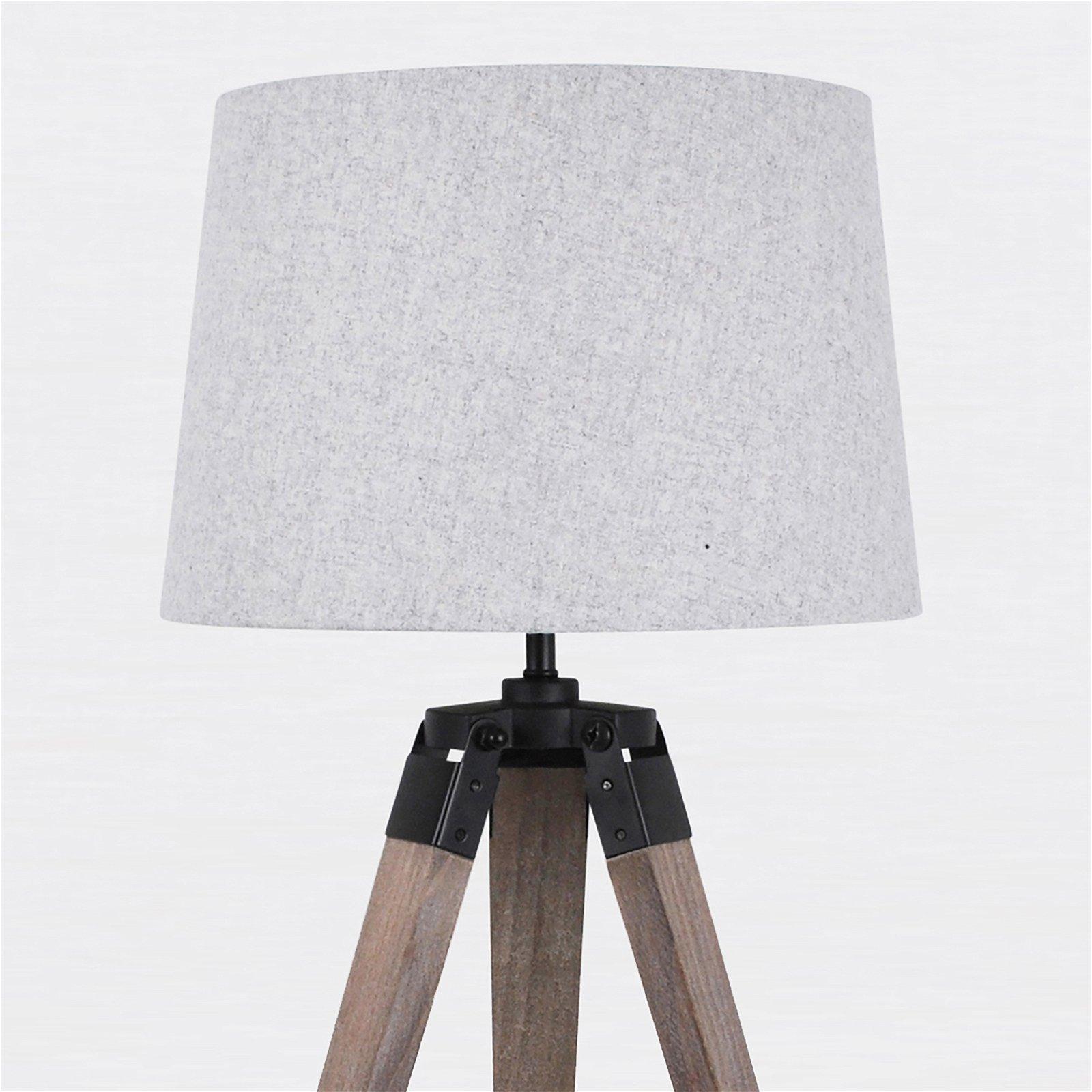 thumbnail 4 - Grey Wash Tripod Wood Table or Floor Lamp Black Painted Metal and Grey Shade