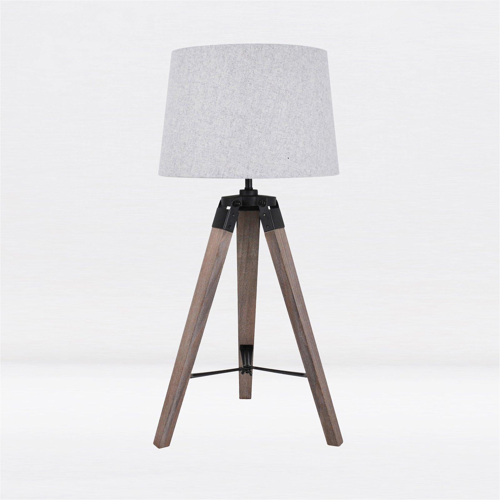 thumbnail 2 - Grey Wash Tripod Wood Table or Floor Lamp Black Painted Metal and Grey Shade