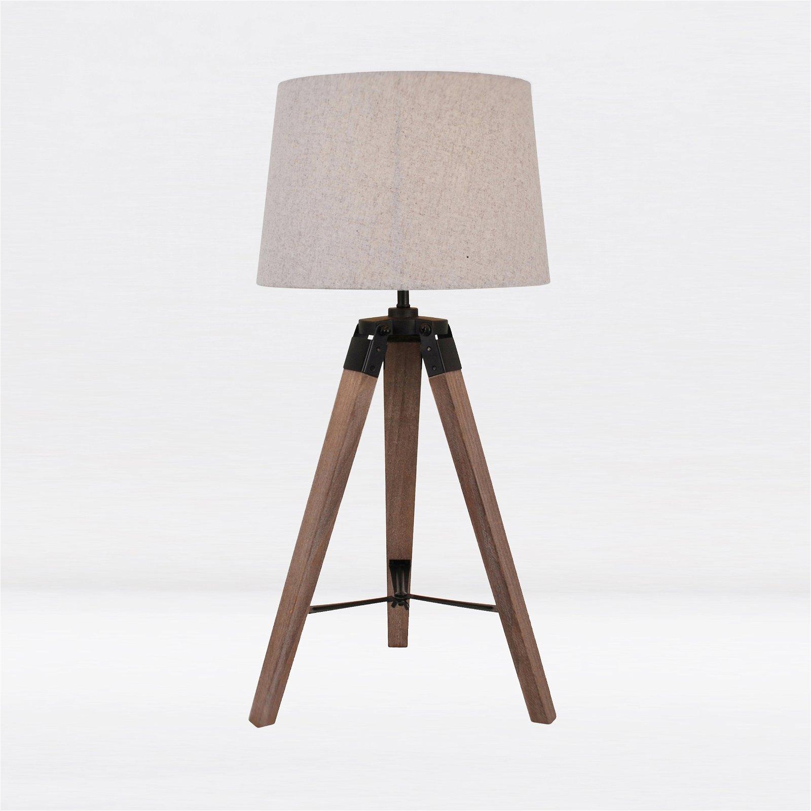 thumbnail 6 - Grey Wash Tripod Wood Table or Floor Lamp Black Painted Metal and Grey Shade