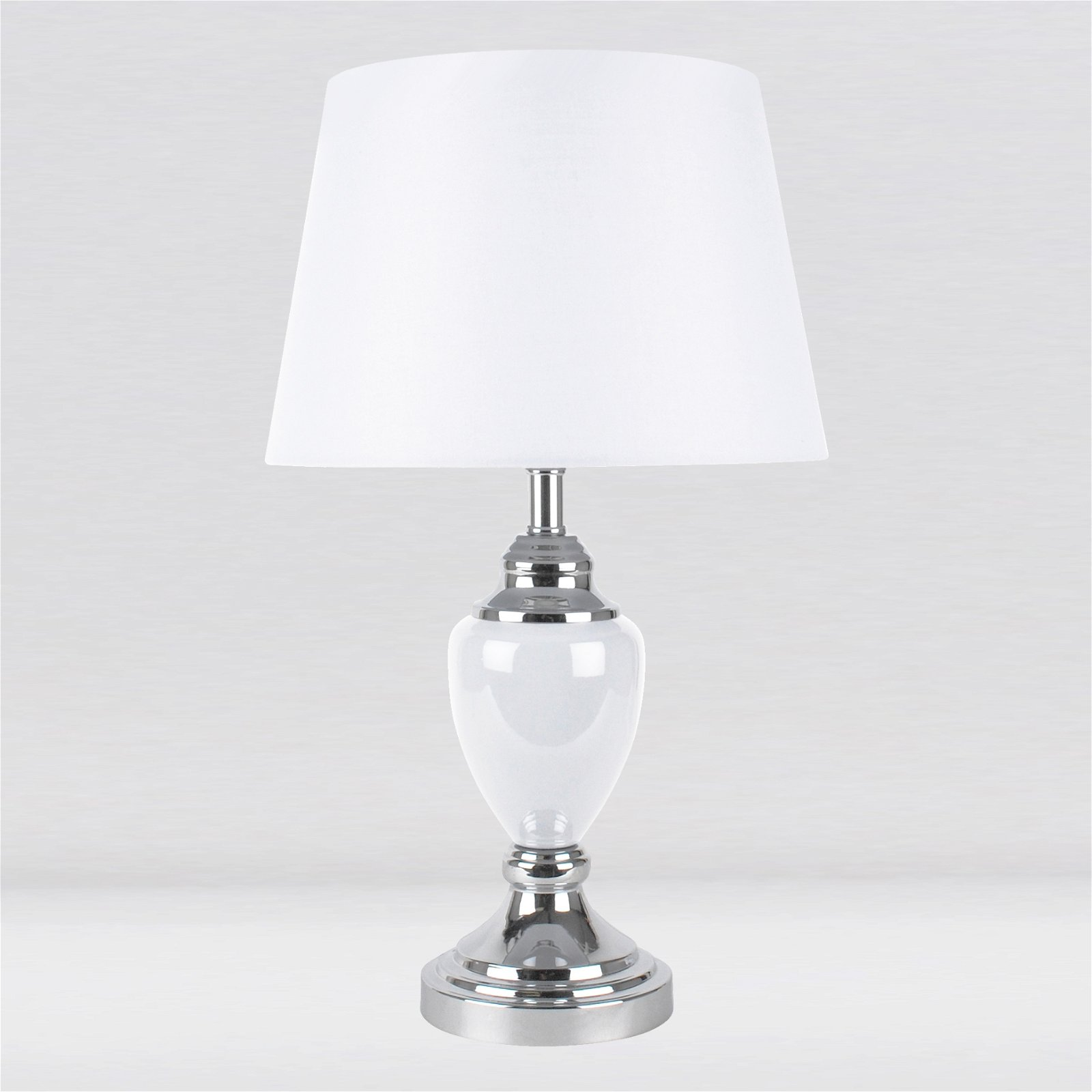 Contemporary Chrome White Urn Style Table Lamp Bedside Light With White Shade Ebay