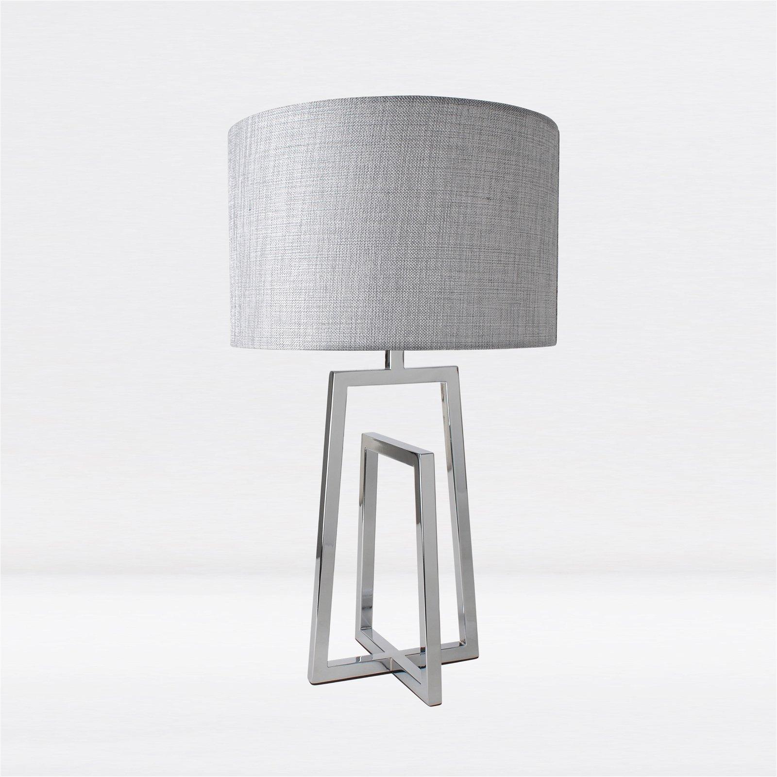 Contemporary Chrome Sculptural Table Lamp Bedside Light Silver Grey Shade Ebay