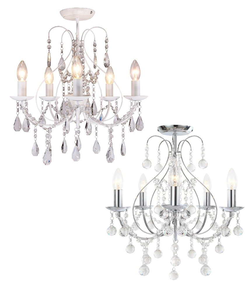 Details about Luxury Chrome & Crystal 5 Light Ceiling Chandelier Light Lounge BHS Sapparia
